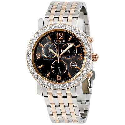 Citizen Black Dial Two Tone Stainless Steel Ladies Watch FB129651H