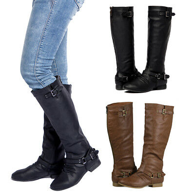 Riding Heel - Women's Back Zipper Knee High Riding Boots with Buckle Straps Round Toe Low Heel