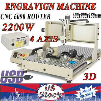 2.2kw 4axis 6090 Usb Cnc Router Desktop Engraver Milling Machine 3d Cutter Vfd