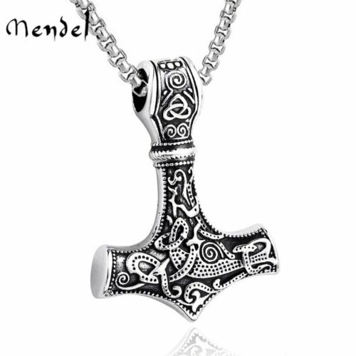 Jewellery - MENDEL Mens Stainless Steel Norse Viking Thors Hammer Mjolnir Pendant Necklace