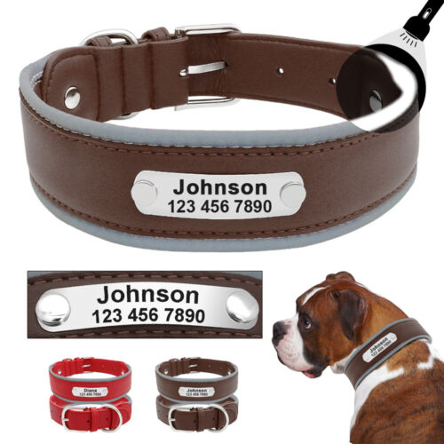 Leather Dog Collars for Large Dogs Personalized Reflective f