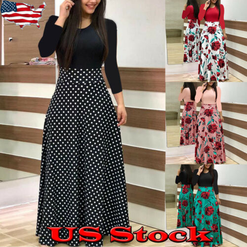 Women Long Sleeve Floral Boho Ladies Party Bodycon Maxi Dres