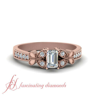 3/4 Carat Emerald Cut Diamond Nature Inspired Engagement Ring In 14K Rose Gold