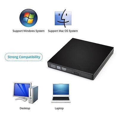 Externes USB 2.0 CD DVD Brenner Writer CD-ROM/RW DVD Laufwerk Schwarz Slim