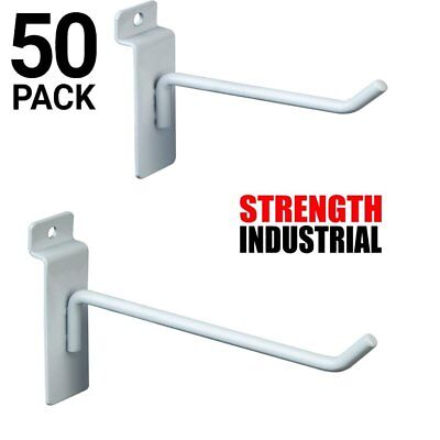 Only Hangers 50 New Slatwall Metal Hook Bundle 4 6 -25 Each- White