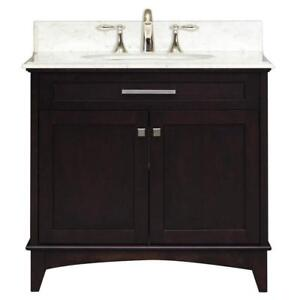 "New Open Box Water Creation Manhattan 31"" w/ 2-Door Freestanding Vanity in Black With Marble Top in White (Pick Up Only)"