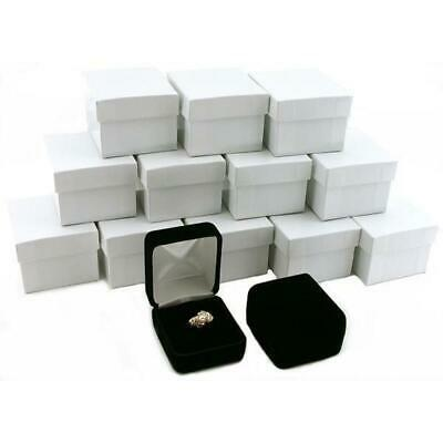 12 Black Velvet Ring Boxes Jewelry Counter Gift Display