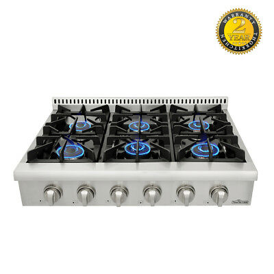 Thor Kitchen 36 Stainless Steel 6 Burner Range Top Hrt3618u Free Shipping