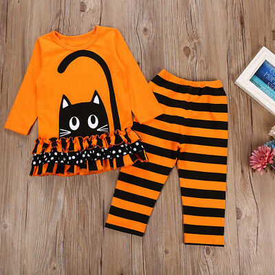Toddler Baby Girls Striped Dot Halloween Tops Dresses Pants Costume Outfits Set](Halloween Costume Outfits)