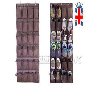 UK 24 Pockets Over Door Hanging Bag Box Shoe Rack Hanger Storage Tidy Organizer