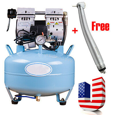 Noiseless Oilless Quiet Medical Dental Air Compressor Unit 30l Free Handpiece