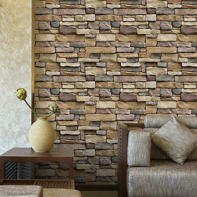 Brick Paper (3D Wall Paper Brick Stone Rustic Effect Self-adhesive Wall Sticker Home Decor)