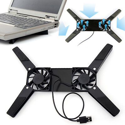 USB Portable Folding Cooler Cooling Fan Pad with 2 Fan for Laptop Notebook UK TR