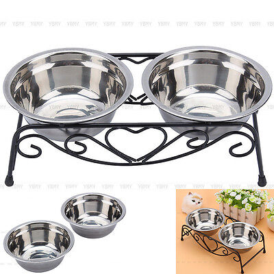 - Double Bowl Dog Cat Feeder Elevated Stand Raised Dish Feeding Food Water Pet US