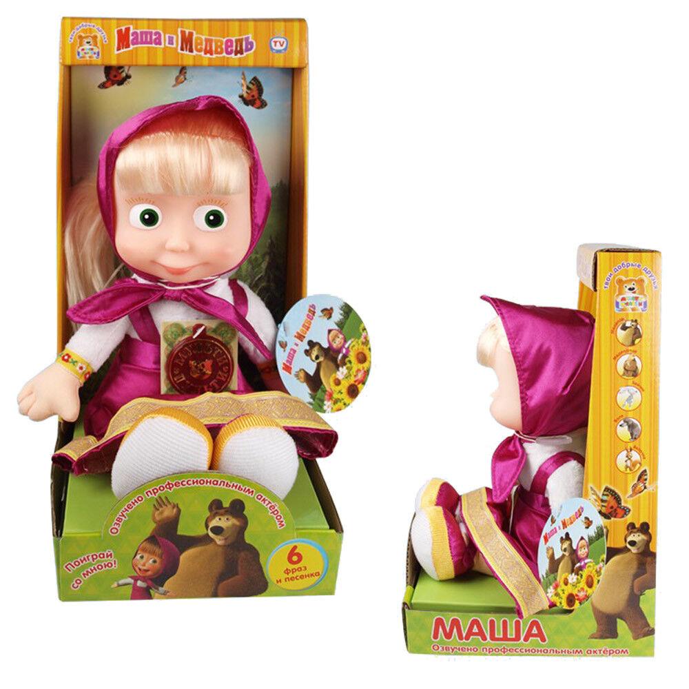 Mascha und der Bär 29cm in Box spricht/singt Weichkörper Puppe Masha i Medved