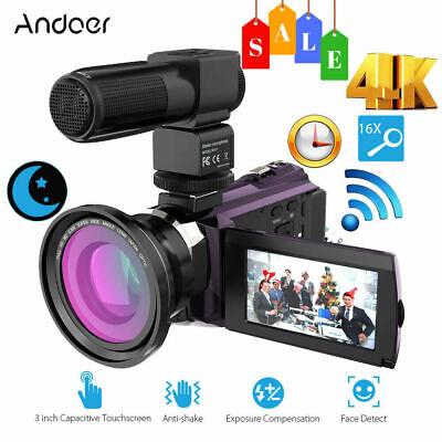 "Andoer 4K WiFi Ultra HD 1080P 48MP 16X 3"" Digital Video Came"