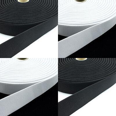Gummibänder Schwarz und Weiß 5 Meter Länge & 10 - 80 mm Breite Hosen Röcke Deko  ()