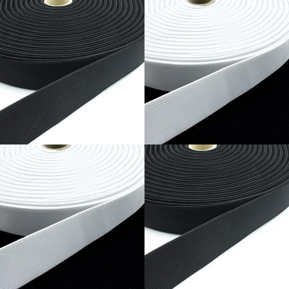 1 Meter Gummibänder Schwarz & Weiß 10 - 80 mm Breite für Bekleidung Masken NEU