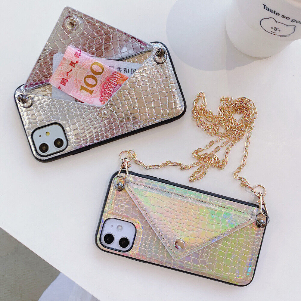 Leather Wallet Women Girls Phone Case Cover w/Strap For iPho