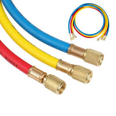 3pcs R134a R410a R-22 Manifold Gauge Hvac Ac Refrigerant 14 5ft Charging Hoses