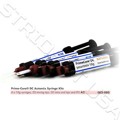 Prime Dent Auto Mix Dual Cure Core Build Up Material 4 X 10 Gram Syringe 003-080