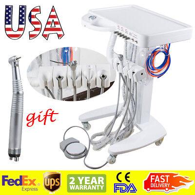 Usa Portable Mobile Dental Delivery Cart Unit System 4 Hole Led High Handpiece