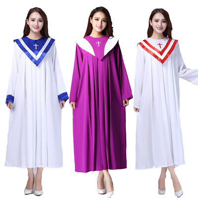 Unisex Priest Costume Pastor Christian Church Choir Robes Upgrade