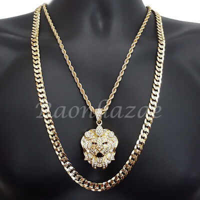 Diamond Crown Charm - ICED OUT CROWN BEAST CHARM ROPE CHAIN DIAMOND CUT 30