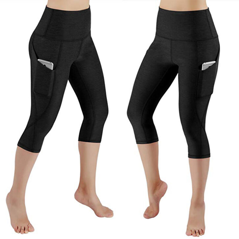 Women High Waist Yoga Leggings Pocket Pants Fitness Sport Gym Workout Athletic G 12