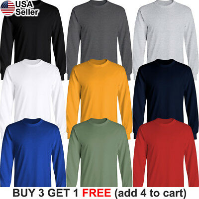 Basic Cotton T-Shirt Long Sleeve Plain Crew Neck Solid Men Youth Blank Color - Long Sleeve Blank T-shirts