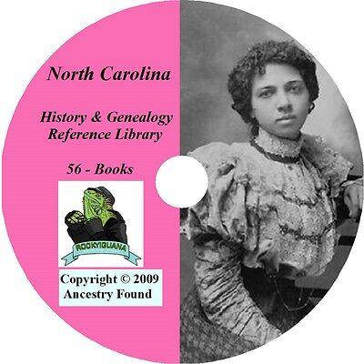 56 old books History & Genealogy of NORTH CAROLINA NC
