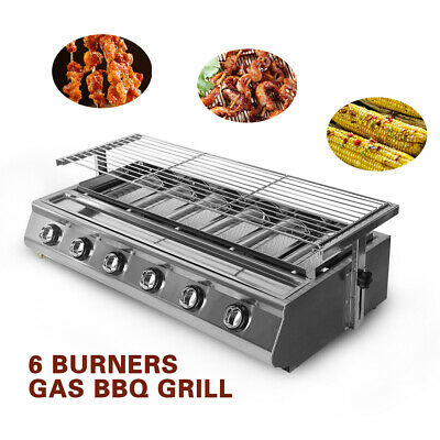 6 Burners Stainless Steel Gas BBQ Grill LPG Outdoor Camping Grill Size 780*250mm for sale  China