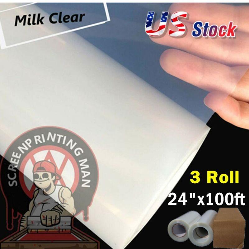 """US! 3Roll 24"""" x 100FT / Roll Waterproof Inkjet Transparency Film for Silk Screen"""