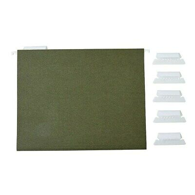 Staples Recycled Reinforced Hanging File Folders 5-tab Letter Std Green 25bx
