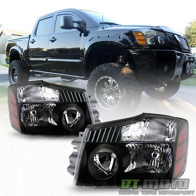 For 2004-2015 Titan 04-07 Armada Black Headlights Headlamps Left+Right 04-15 set