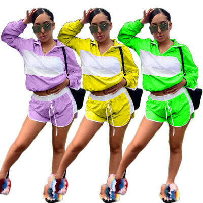 Women 2 Piece Outfits Mesh Long Sleeve Top Shorts Set Casual Jumpsuit ZG9
