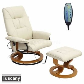 TUSCANY REAL LEATHER WHITE SWIVEL RECLINER MASSAGE CHAIR W FOOT STOOL