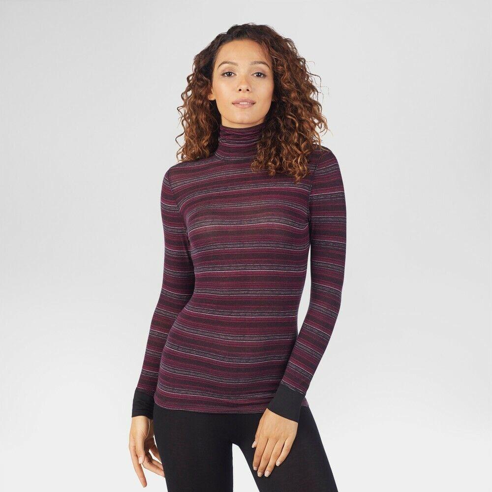Warm Essentials Long Sleeve Scoop Neck Top, Stripes, Large Activewear