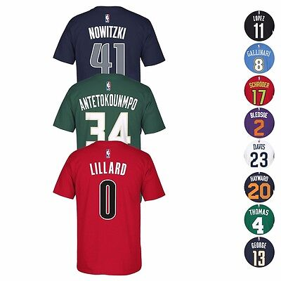 - 2016-17 NBA Adidas Official Player Name & Number Jersey T-Shirt Collection Men's