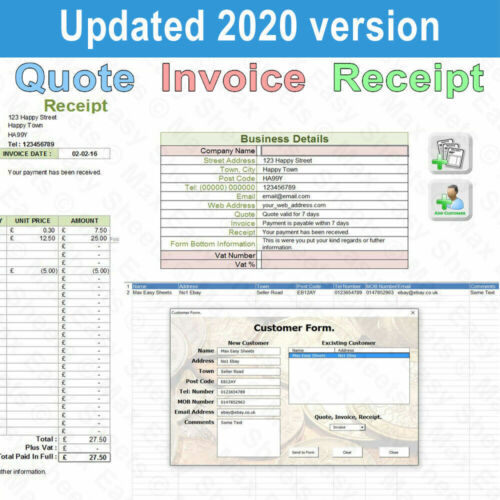 Invoice Receipt Quote, Invoice Template, Invoice Generator, Excel Spreadsheet UK