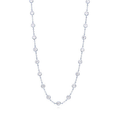 BERRICLE Sterling Silver CZ by the Yard Fashion Station Necklace