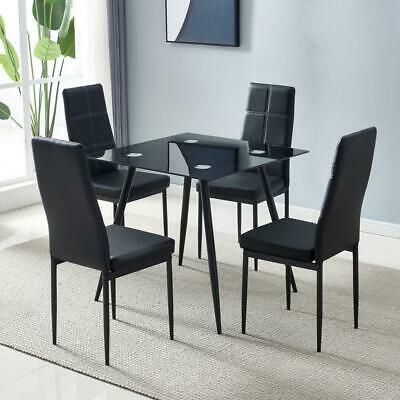 New 5 Piece Dining Table Set 4 Chairs Glass Metal Kitchen Room Furniture Black