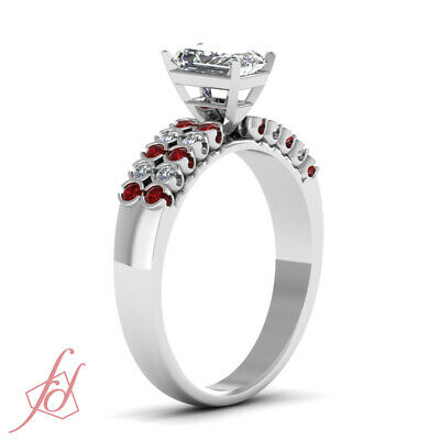 1.25 Ct Radiant Cut VVS1-F Color Diamond & Red Ruby 14K Gold Engagement Ring GIA 2