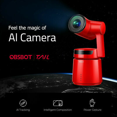 OBSBOT Tail 3-Axis Auto Director AI Camera 12MP HD 360°Sport Monitor Camera Red