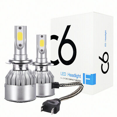 2 x H7 LED Headlight Conversion Kit COB Bulb 2200W 120000LM White HPower