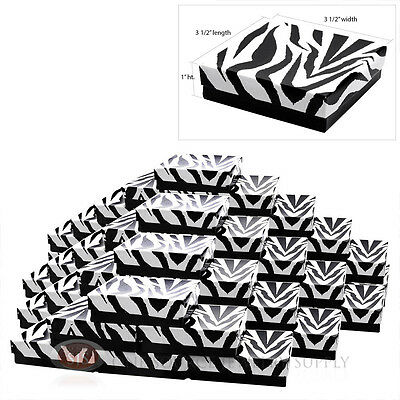 50 Cotton Filled Jewelry Gift Boxes Zebra Print Design 3 12 X 3 12 X1