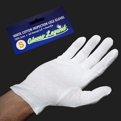6 Pairs White Coin Jewelry Silver Inspection Cotton Lisle Gloves - Size Small
