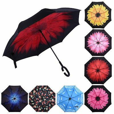Folding Upside Down Reverse Umbrella C-Handle Double Layer Inside-Out 13Color V9