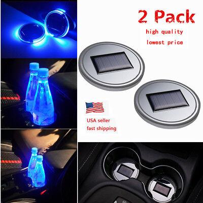 2PC Solar Cup Pad Car Accessories LED Light Cover Interior Decoration Lights US ()