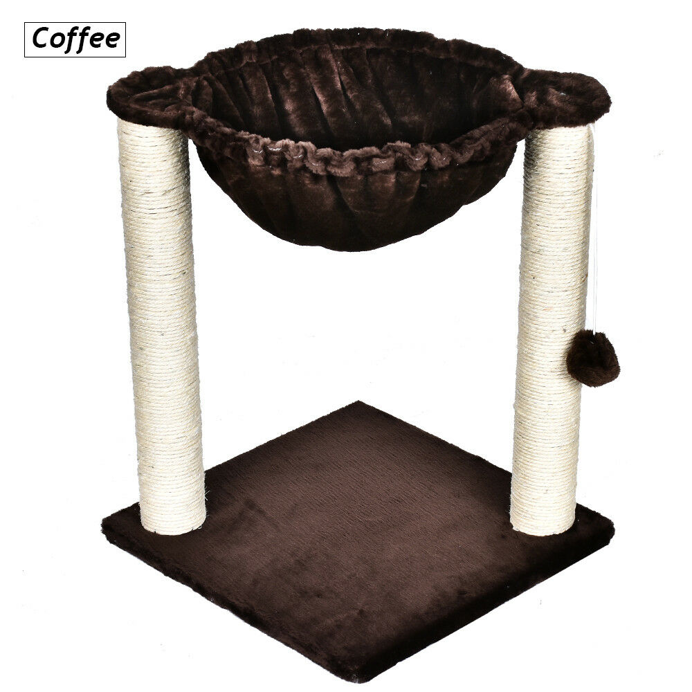 """20"""" Sisal Rope Cat Tree Condo Furniture Scratching Post with Hammock Kitty Toy"""